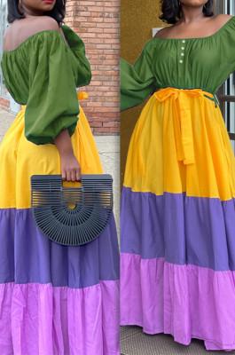 Green New Fashion Big Yards A Word Shoulder Lantern Sleeve Elasticband Contrast Color Fringed Dress L0358-3