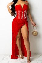 Red Trendy Euramerican Club Hot Drilling Sequins Mesh Spaghetti Condole Belt V Neck Split Long Dress XZ5263-2