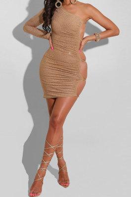 Khaki Mid Waist Oblique Shoulder Sexy Solid Color Chain Milk Silk Mini Dress YF9215
