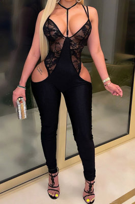 Blac High Waits No Waistband Tight Sexy Long Pants Condole Belt Backless Hollow Out Lace Bodycon Jumpsuits YF9237