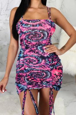 Multicolor Tid Dye Printing Condole Belt Straless Ruffle Drawsting Sexy Hip Dress SMR10538-1