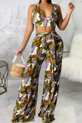 Army Green Sexy Digital Printing Spliced Halter Neck V Collar Strapless Bandage High Waist Wide Leg Pants Two-Piece SMR10528-3
