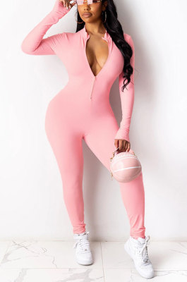 Pink Euramerican Solid Color Zipper Long Sleeve Sexy Tight Lady Bodycon Jumpsuits KZ2134-3