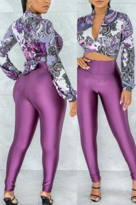 Purple Wholesal Women Digital Printing Long Sleeve Deep V Collar Bandage Crop Top High Waist Bodycon Pants Casual Two-Piece SMR10517-3