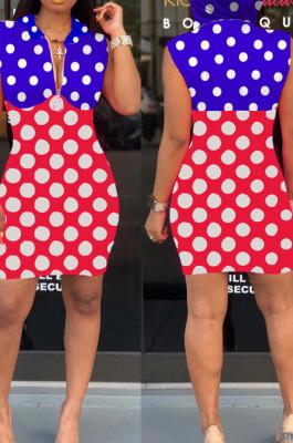 Blue Red Spliced Wave Point Printing Sleeveless Zipper Hoodie Collcet Waist Hip Dress MLL107-2