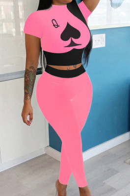 Pink Wholesal Women Pattern Digital Printing Short Sleeve Round Neck Crop Top Bodycon Pants Casual Sets LYY9260-4