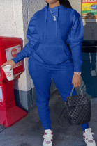 Blue Casual Cotton Blend Long Sleeve With Pocket Hoodie Pants Solid Color Sport Sets YM213-4