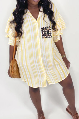 Yellow Positioning Leopard Printing Ruffle Sleeve Lapel Neck Single-Breasted Shirt Dress MLL114-2