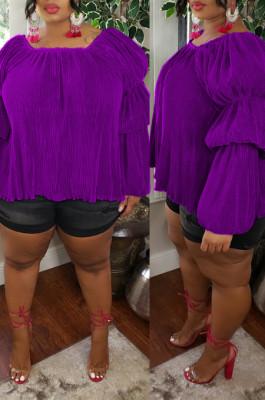 Purple Big Yards Simplee Solid Color Ruffle Puff Sleeve Square Collar Loose Top U7098-4