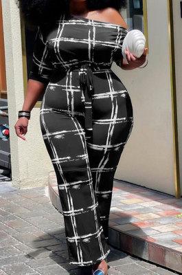 Black Euramerican Women Fashion Printing Oblique Shoulder Loose Casual Jumpsuits KKY80051-1