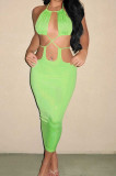 Fruit Green Summer New Condole-Belt Backless Hollow Out Bodycon Pure Color Long Dress YNS1649-2