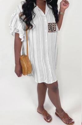 Black Positioning Leopard Printing Ruffle Sleeve Lapel Neck Single-Breasted Shirt Dress MLL114-3