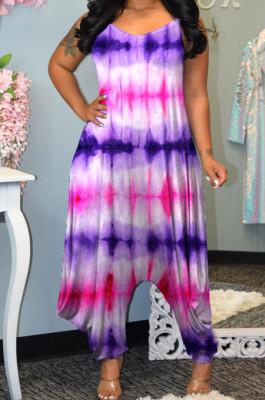 Rose Purple Colorful Tie Dye Printing Condole-Belt Casaul Wide Leg Jumpsuits MLL106-2