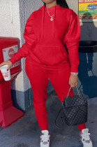 Red Casual Cotton Blend Long Sleeve With Pocket Hoodie Pants Solid Color Sport Sets YM213-2