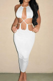 White Summer New Condole-Belt Backless Hollow Out Bodycon Pure Color Long Dress YNS1649-1