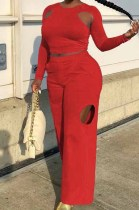 Red Wholesal Long Sleeve Round Collar Crop Top Mid Waist Loose Shift Pants Hollow Out Solid Color Two-Piece WM21721-2