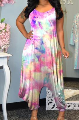 Colorful Tie Dye Printing Condole-Belt Casaul Wide Leg Jumpsuits MLL106-1