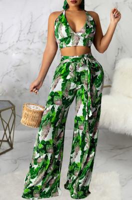 Green Sexy Digital Printing Spliced Halter Neck V Collar Strapless Bandage High Waist Wide Leg Pants Two-Piece SMR10528-1