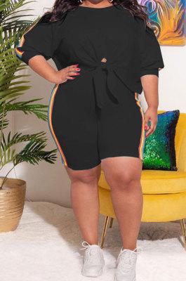Black Fashion Women Casual Spliced Plus Shorts Sets KKY80052-3