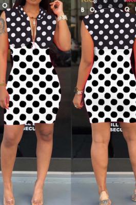 Black White Spliced Wave Point Printing Sleeveless Zipper Hoodie Collcet Waist Hip Dress MLL107-1