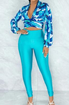 Cyan Green Wholesal Women Digital Printing Long Sleeve Deep V Collar Bandage Crop Top High Waist Bodycon Pants Casual Two-Piece SMR10517-2