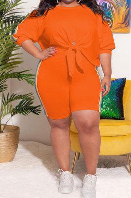 Orange Fashion Women Casual Spliced Plus Shorts Sets KKY80052-2