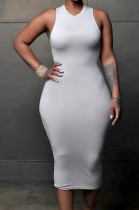 Gray White Simple Pure Color Sleeveless Round Collar Back Hollow Out Ruffle Slim Fitting Bodycon Dress MLL121-1