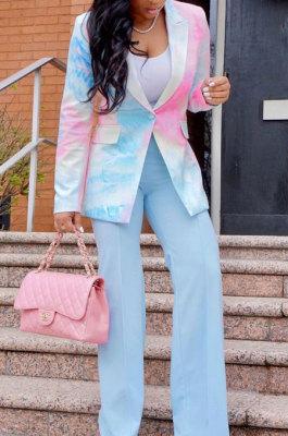 Multicolor Euramerican Women Fashion Tie Dye Printing Buttons Suit Jacket AA5272