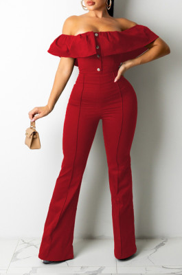 Red Simple Casual Flounce A Word Shoulder Button Slim Fitting Pure Color Collcet Waist Jumpsuits QZ5320-3