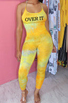 Yellow New Positioning Tie Dye Letter Printing Condole Belt Backless Bodycon Jumpsuits MLL119-2
