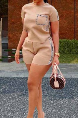 Khaki Summer Short Sleeve Round Neck T-Shirt Shorts Gold Line Casual Two-Piece HHM6305-3