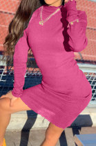 Rose Red Women Pure Color Stand Collar Sexy Ribber Lace Long Sleeve Mini Dress AMW8332-3