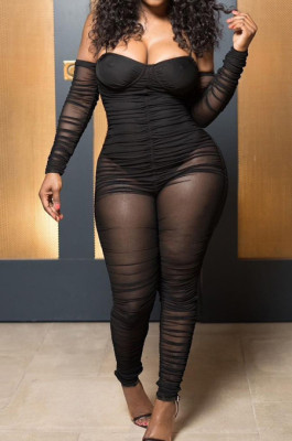 Black Sexy Mesh Spliced Long Sleeve Condole Belt Collcet Strapless Waist Ruffle Bodycon Jumsuits YNS1656-2