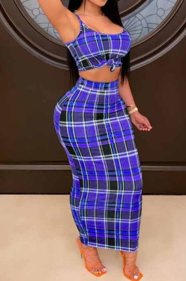 Blue Wholesal Sexy Plaid Printing Condole Belt Strapless High Waist Bodycon Long Skirts Slim Fitting Two-Piece HHM6335-2