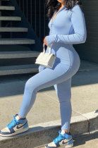 Light Blue Women Solid Color Casual Long Sleeve Zipper Ribber Bodycon Jumpsuits AMW8329-2