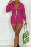 Rose Red Casual Pure Color Zipper Long Sleeve Hoodie Coat Shorts Sport Sets CYY00023-1