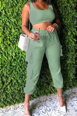 Green Sleeveless U Neck Tank With Pocket Drawsting Sweat Pants Solid Color Casual Yoga Sets H1651-3