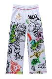 Graffiti Printed Wide Leg Pants