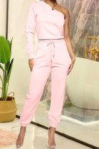 Pink Women Pure Color Oblique Shoulder Long Sleeve Pants Sets MDF5255-1
