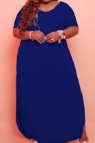 Blue Big Yards Cotton Blend Short Sleeve V Neck Loose Slit Casual Long Dress CYY00019-5