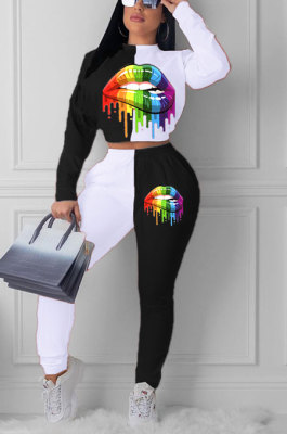 White Euramerican Trendy Casual Color Matching Digital Printing Lips Long Sleeve Round Collar Pants Sets MDF5093-2