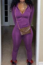 Purple Euramerican Women Trendy Solid Color Zipper Long Sleeve Tight Pants Sets MF5193-4