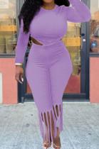 Light Purple Cotton Blend Long Sleeve O Collar Bodycon Top High Waist Wide Leg Pants Cute Tassel Sets MTY6563-1