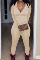 White Euramerican Women Trendy Solid Color Zipper Long Sleeve Tight Pants Sets MF5193-8