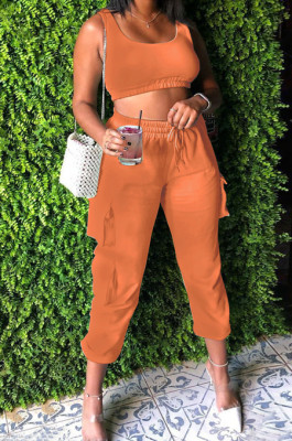Orange Sleeveless U Neck Tank With Pocket Drawsting Sweat Pants Solid Color Casual Yoga Sets H1651-4