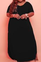Black Big Yards Cotton Blend Short Sleeve V Neck Loose Slit Casual Long Dress CYY00019-2
