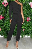 Black Women Pure Color Oblique Shoulder Long Sleeve Pants Sets MDF5255-2