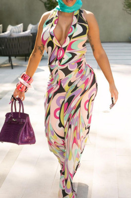 Colorful Printing Sleeveless Deep V Neck Collcet Waist Wide Leg Jumpsuits YNS1671