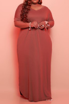 Brown Big Yards Cotton Blend Short Sleeve V Neck Loose Slit Casual Long Dress CYY00019-1