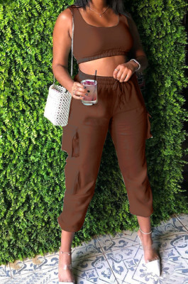 Brown Sleeveless U Neck Tank With Pocket Drawsting Sweat Pants Solid Color Casual Yoga Sets H1651-2